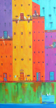 Venice City 07 by Ganesh Badiger, Geometrical Painting, Acrylic on Canvas, Orange color