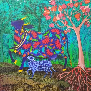 THE HOLY COW by Arti Vohra, Expressionism Painting, Acrylic on Canvas, Green color