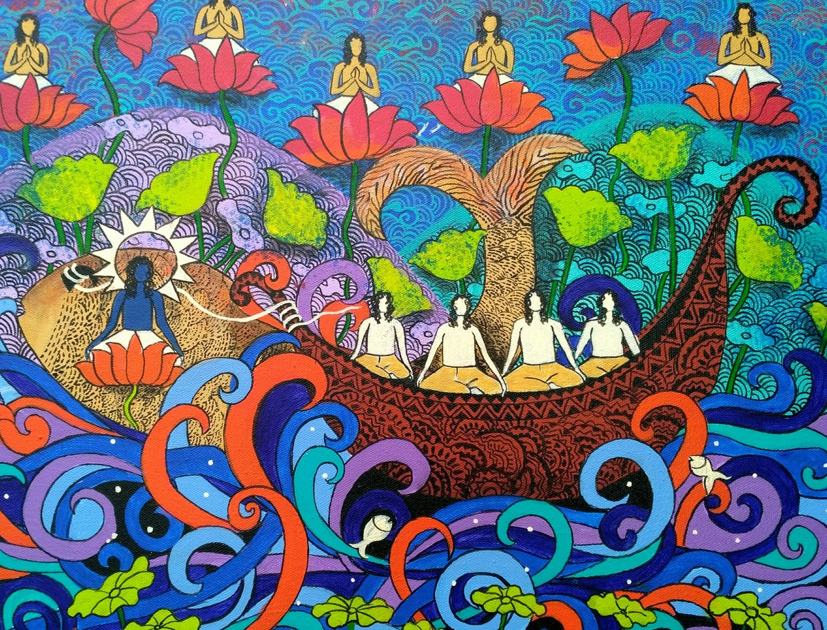 BOAT OF LIFE-3 by Arti Vohra, Expressionism Painting, Acrylic on Canvas, Blue color