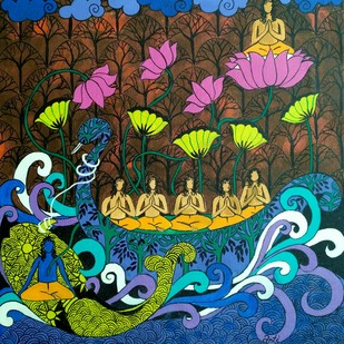 BOAT OF LIFE-2 by Arti Vohra, Expressionism Painting, Acrylic on Canvas, Green color
