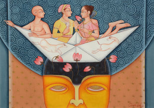 Untitled by CHHOTU LAL, Traditional Painting, Tempera on Canvas, Brown color