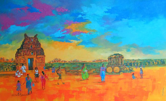 Hampi 01 by Ganesh Badiger, Impressionism Painting, Acrylic on Canvas, Cyan color