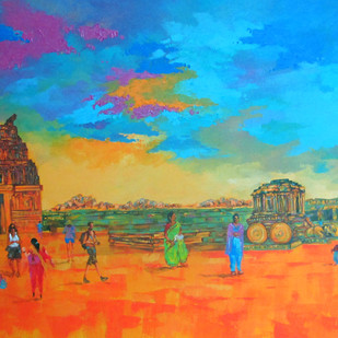 Hampi 01 by Ganesh Badiger, Impressionism Painting, Acrylic on Canvas, Cyan color