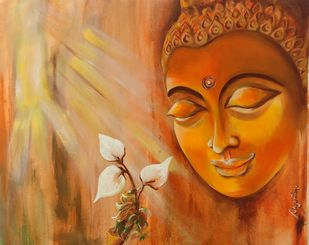 Buddha by Sayantan Ghati, Traditional Painting, Acrylic on Canvas, Brown color