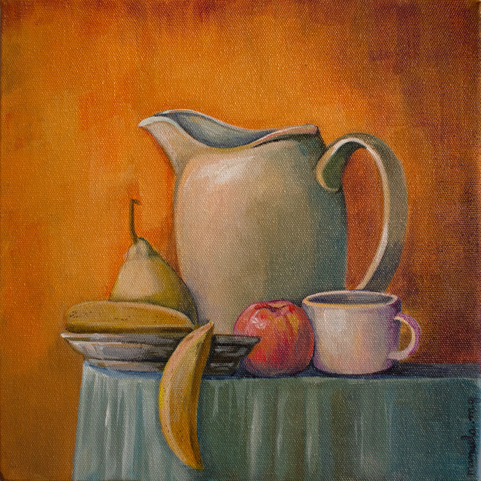 still life 1 by Manuela Gomes, Expressionism Painting, Acrylic on Canvas, Brown color
