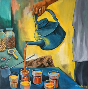 chai composition by Manuela Gomes, Impressionism Painting, Acrylic on Canvas, Green color