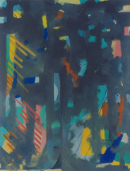 Sunset by F Tarannum, Abstract Painting, Oil on Canvas, Green color