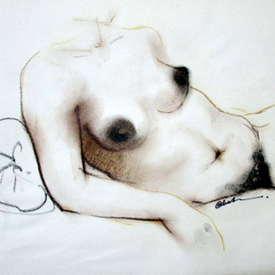 NUDE 9 by A Kundu, Illustration Drawing, Pastel on Paper, Gray color