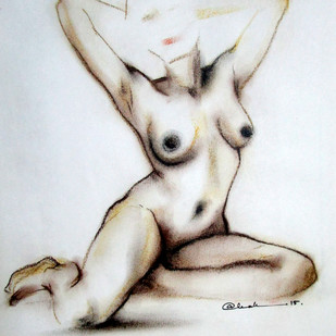 NUDE 4 by A Kundu, Illustration Drawing, Dry Pastel on Paper, Gray color