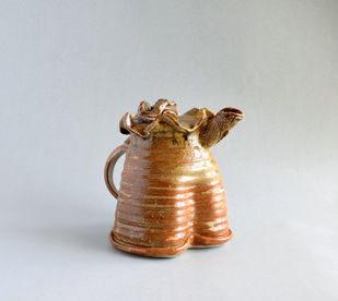 Teapot - 'Undulations... Imprints of life on clay' by Shantanu Prakash, Art Deco Sculpture | 3D, Ceramic, Gray color