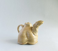 Teapot from solo series 'Undulations... Imprints of life on clay' by Shantanu Prakash, Art Deco Sculpture | 3D, Ceramic, Gray color