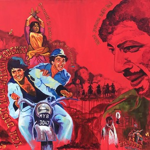 And Gabbar Laughed by Anukta M Ghosh, Pop Art Painting, Acrylic on Canvas, Red color