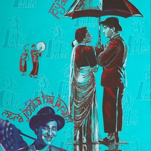 "THE SHOWMAN - from the series "" MY BRUSH WITH BOLLYWOOD"" by Anukta M Ghosh, Expressionism Painting, Acrylic & Graphite on Canvas, Cyan color"