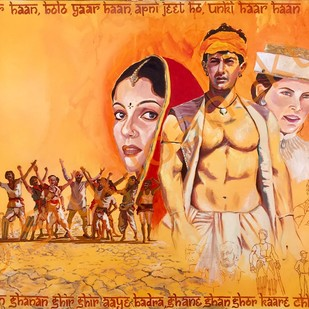 "HOWZAT! - from my series "" MY BRUSH WITH BOLLYWOOD"" by Anukta M Ghosh, Pop Art Painting, Acrylic on Canvas, Orange color"