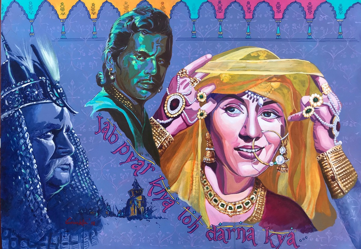 """The Prince and the Courtesan - from the series """" MY BRUSH WITH BOLLYWOOD'' by Anukta M Ghosh, Pop Art Painting, Acrylic on Canvas, Blue color"""