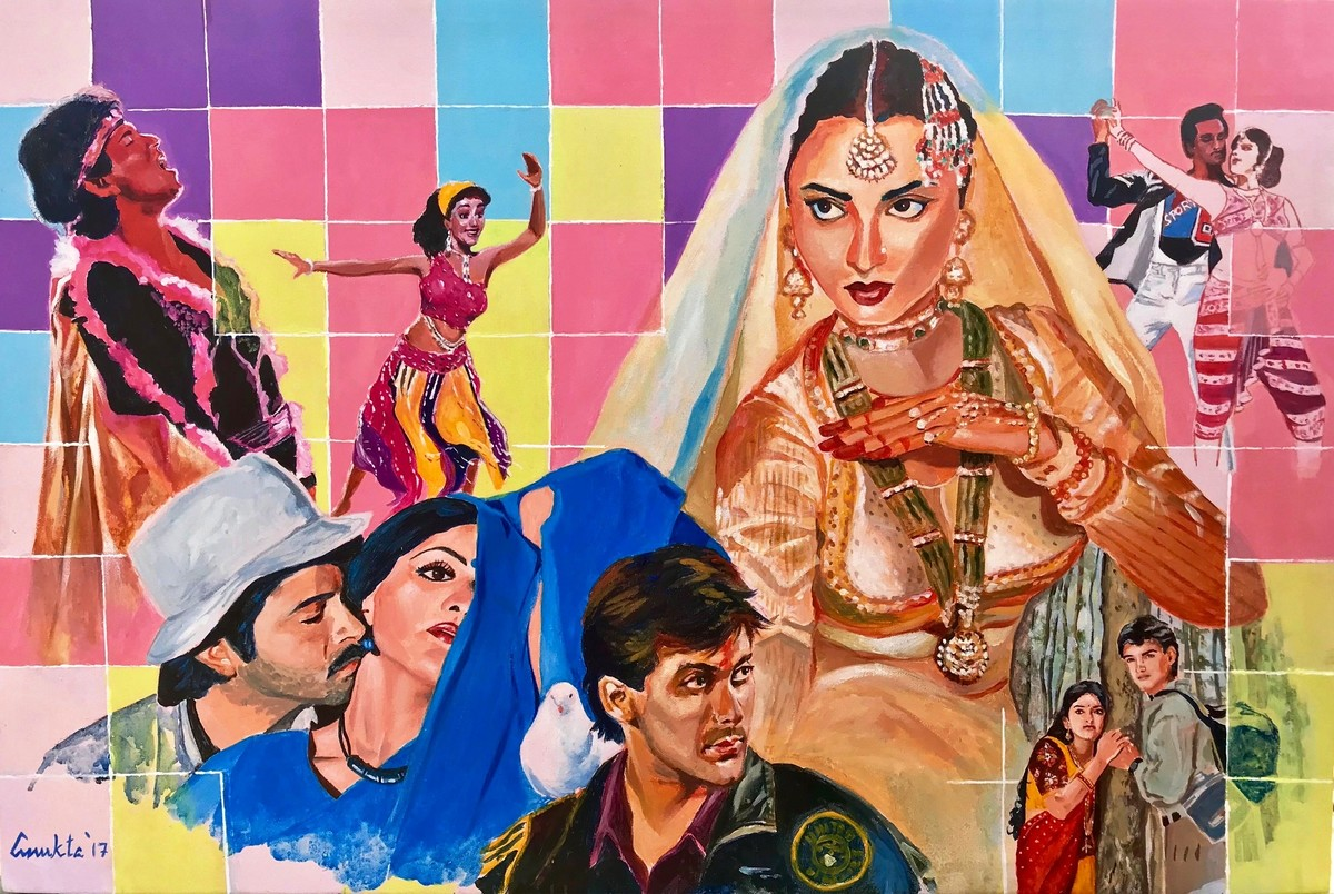 """STARDUST - from my series """" MY BRUSH WITH BOLLYWOOD'' by Anukta M Ghosh, Pop Art Painting, Acrylic on Canvas, Brown color"""