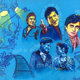 "THE STARS ABOVE - from the series "" MY BRUSH WITH BOLLYWOOD"" by Anukta M Ghosh, Pop Art Painting, Acrylic & Ink on Canvas, Blue color"