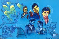 """THE STARS ABOVE - from the series """" MY BRUSH WITH BOLLYWOOD"""" by Anukta M Ghosh, Pop Art Painting, Acrylic & Ink on Canvas, Blue color"""