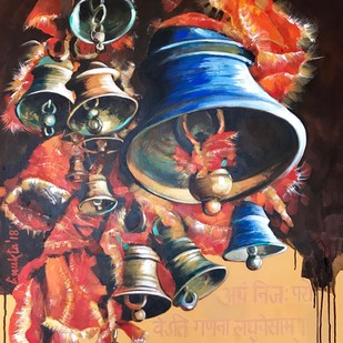 Sounds of Divinity - II by Anukta M Ghosh, Expressionism Painting, Acrylic on Canvas, Brown color