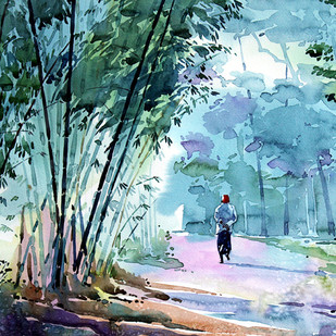 DECEMBER by Raji Pavithran, Impressionism Painting, Watercolor on Paper, Green color