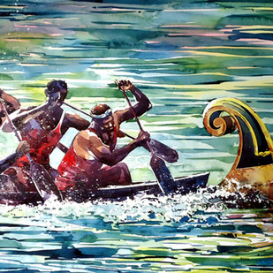Spirit by Raji Pavithran, Impressionism Painting, Watercolor on Paper, Green color