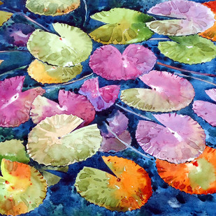 Water Lily by Raji Pavithran, Expressionism Painting, Watercolor on Paper, Beige color