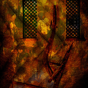 Abstract-I by Mayurakshi, Digital Painting, Digital Print on Canvas, Brown color