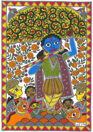 Krishna Govardhan by Unknown Artist, Folk Drawing, Acrylic on Paper, Brown color