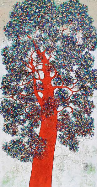 tree of life by Bhaskara Rao Botcha, Expressionism Painting, Acrylic on Canvas, Gray color