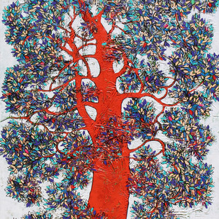 tree of life by Bhaskara Rao Botcha, Expressionism Painting, Acrylic on Canvas, Gray color