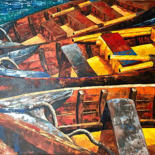 KASHTIYAAN by Anukta M Ghosh, Expressionism Painting, Acrylic on Canvas, Brown color