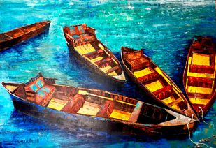 KASHTIYAAN-II by Anukta M Ghosh, Expressionism Painting, Acrylic on Canvas, Brown color