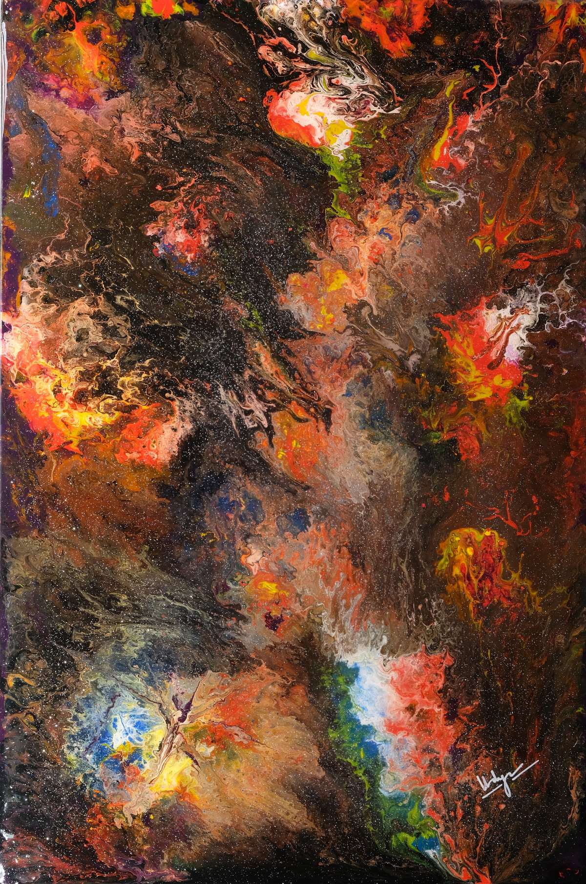 Abstract Resin Painting by Vidya Mukund, Abstract Painting, Mixed Media on Canvas, Brown color