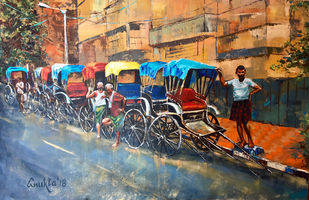 WAITING WHEELS by Anukta M Ghosh, Expressionism Painting, Acrylic on Canvas, Brown color