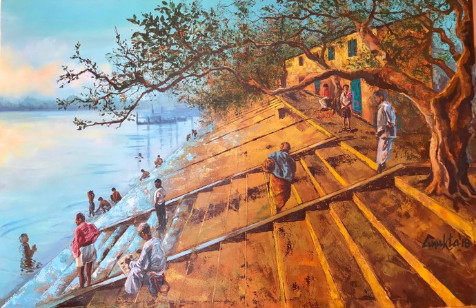 STAIRWAY TO PURITY by Anukta Mukherjee Ghosh, Impressionism Painting, Acrylic on Canvas, Brown color