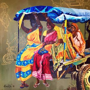 VILLAGE TALES by Anukta M Ghosh, Impressionism Painting, Acrylic on Canvas, Brown color