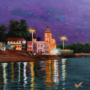 Twilight in Rishikesh by Aashish Dongre, Photorealism Painting, Acrylic on Canvas, Blue color