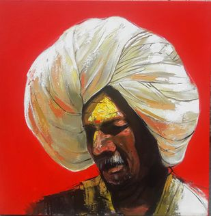 Face 1 by Ganesh Jadhav , Expressionism Painting, Acrylic on Canvas, Red color