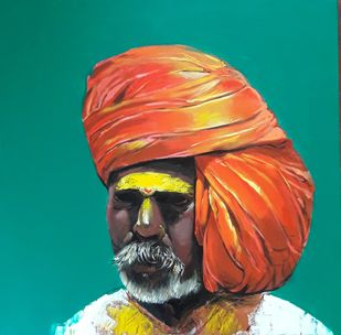 Face..2 by Ganesh Jadhav , Expressionism Painting, Acrylic on Canvas, Cyan color