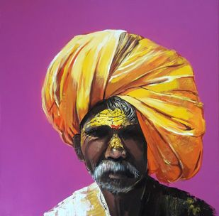 Face..3 by Ganesh Jadhav , Expressionism Painting, Acrylic on Canvas, Purple color