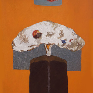 """""""Thought"""" by Neha kulkarni , Expressionism Painting, Oil on Canvas, Orange color"""