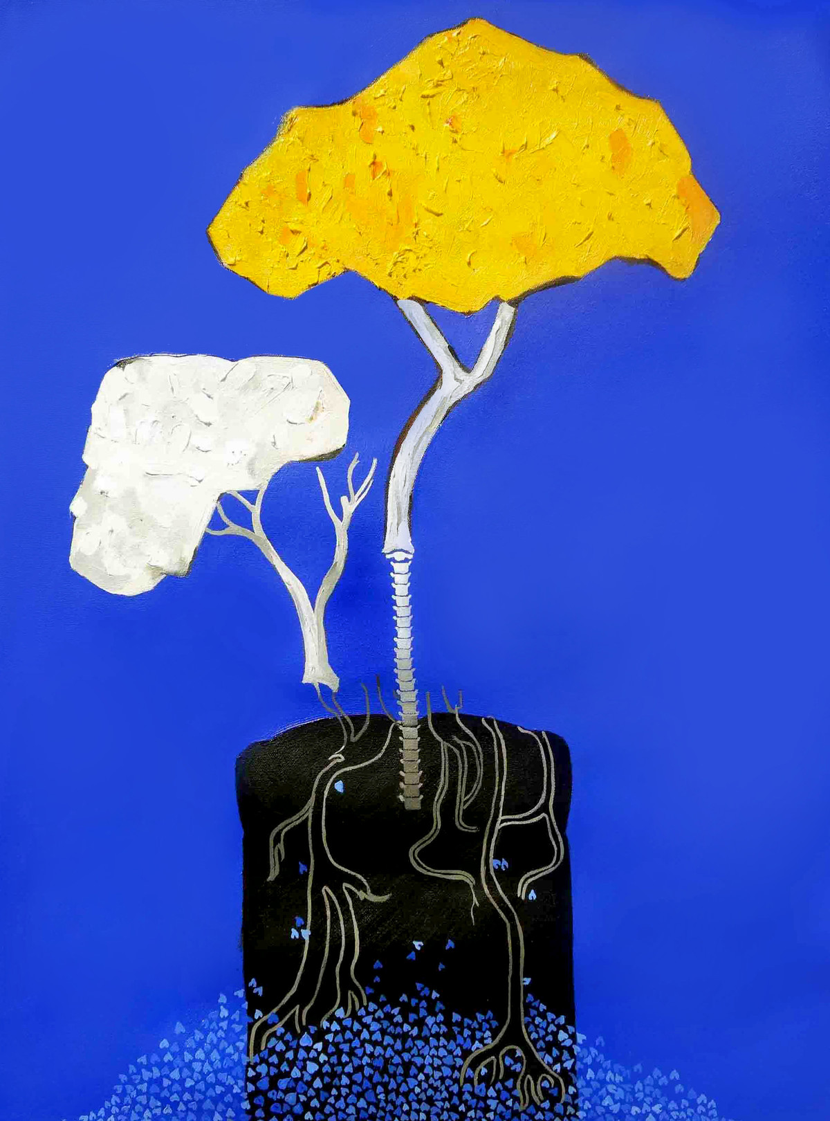 Tree Of Life by Neha kulkarni , Expressionism Painting, Oil on Canvas, Blue color