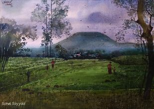 Before Rain by Sayyad Sohel, Impressionism Painting, Watercolor on Paper, Green color