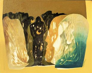 Mountains of the Mind 5 by K KHOSA, Abstract Painting, Oil on Canvas, Beige color