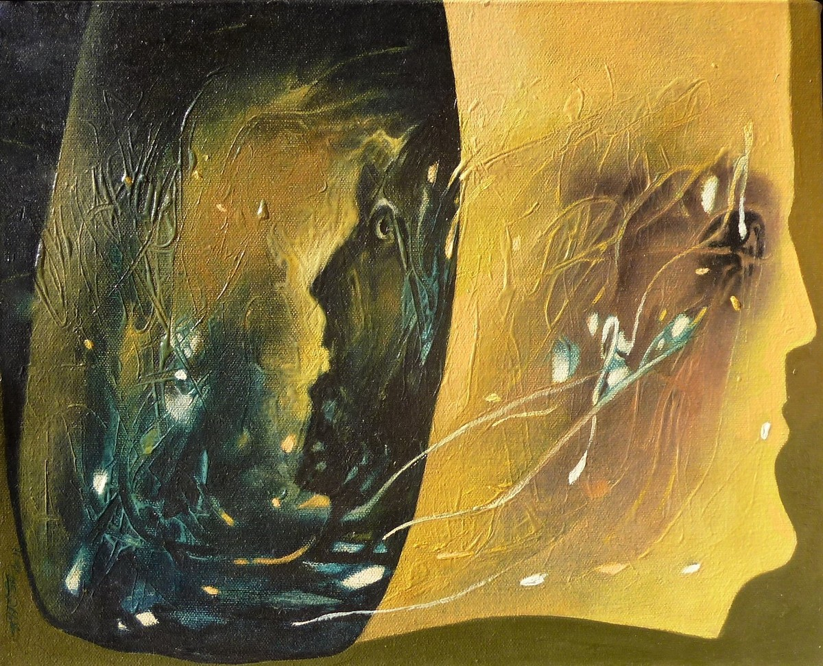 Mountains of the Mind 9 by Kashmiri Khosa, Abstract Painting, Oil on Canvas, Green color