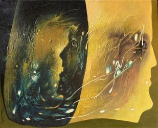 Mountains of the Mind 9 by K KHOSA, Abstract Painting, Oil on Canvas, Green color