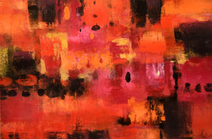 crimsonred by Gita Hudson, Abstract Painting, Oil on Canvas, Red color