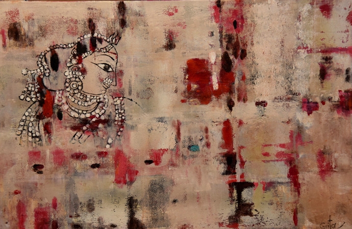 crimson white by Gita Hudson, Expressionism Painting, Oil on Canvas, Brown color