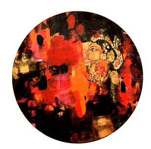 crimson deep by Gita Hudson, Expressionism Painting, Oil on Canvas, Brown color