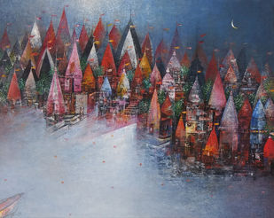 Banaras Ganga Ghat by M Singh, Geometrical Painting, Acrylic on Canvas, Brown color